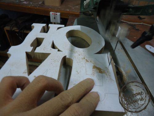 cara membuat huruf kayu frame foto