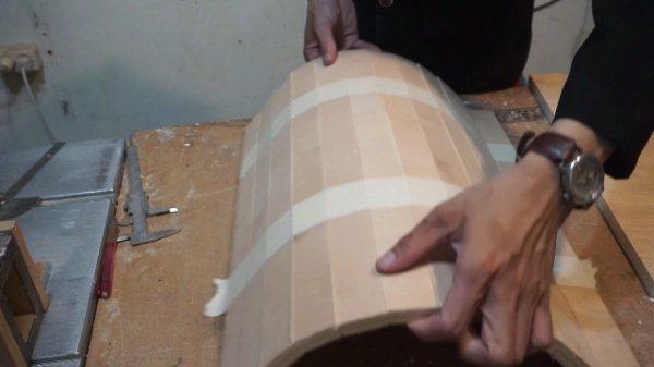 tutup setengah lingkaran dari plywood
